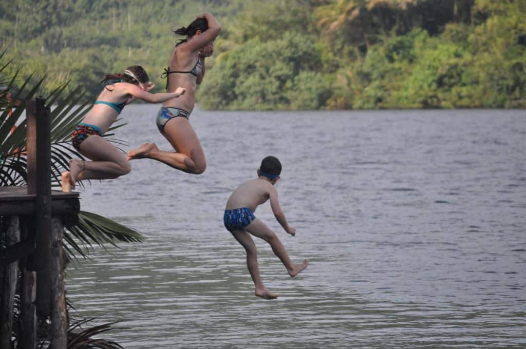 Rainbow Lodge, Tatai River, Cambodia - Jumping off the high jetty