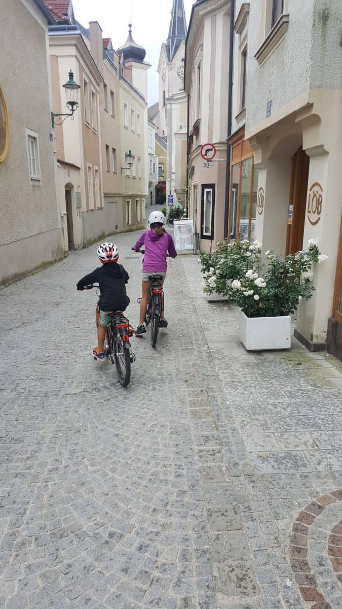 Riding through Ybbs an der Donau