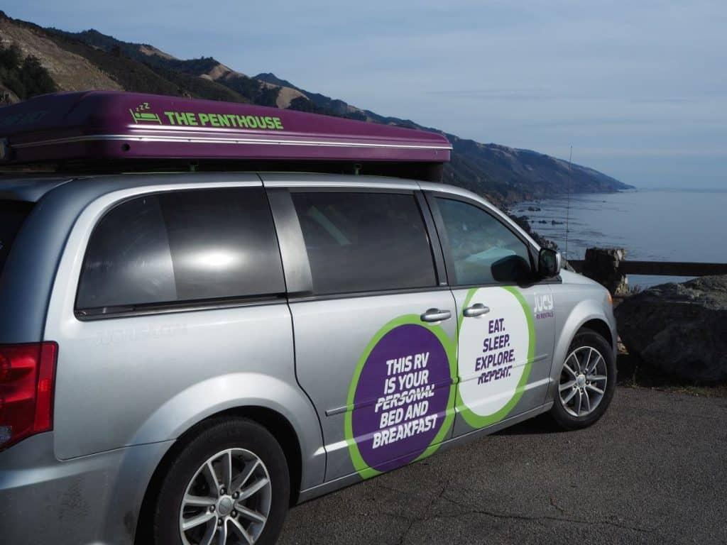 USA roadtrip jucy van for RV trips west coast