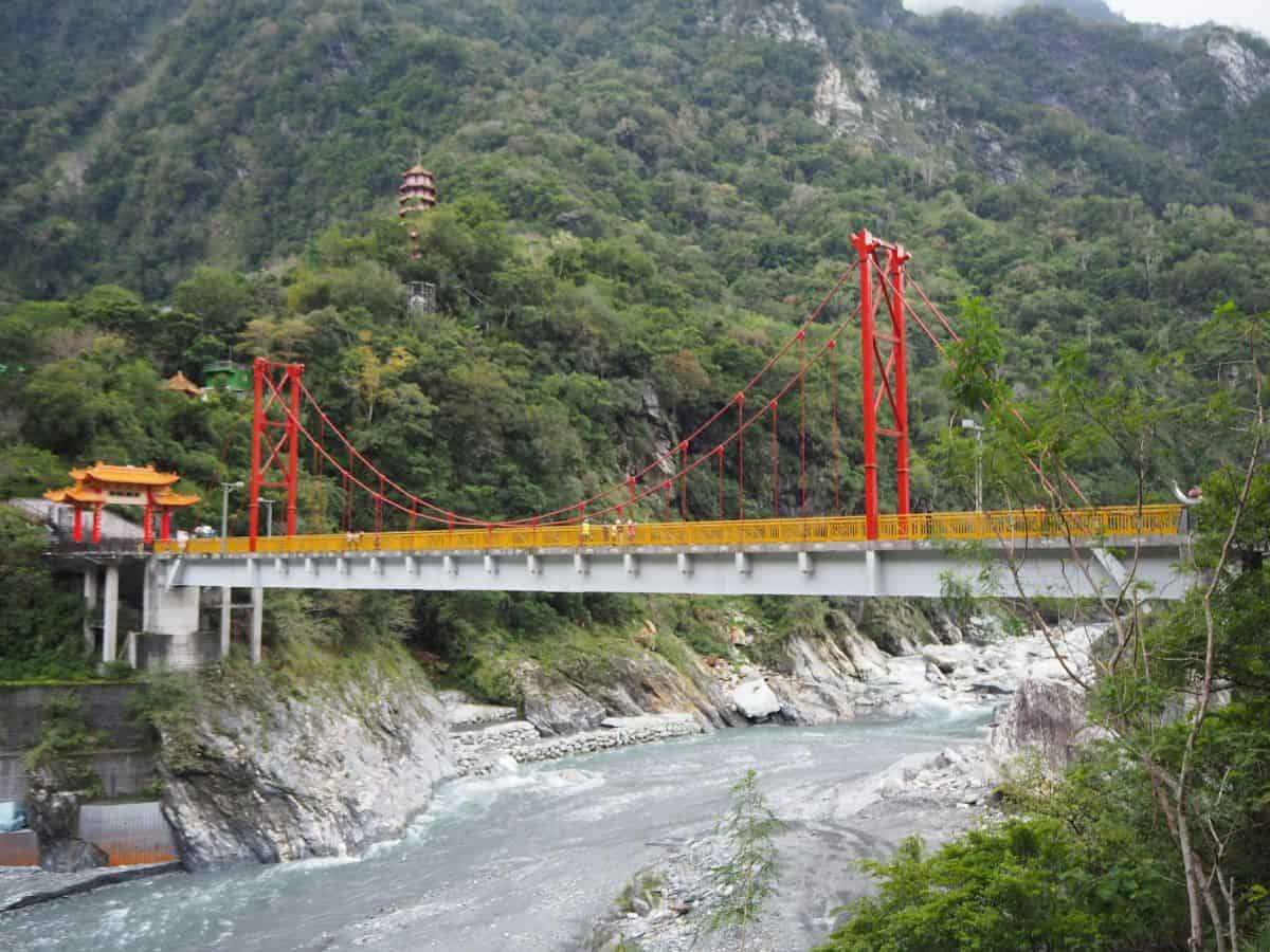 Pagoda and bridge in Taroko Gorge