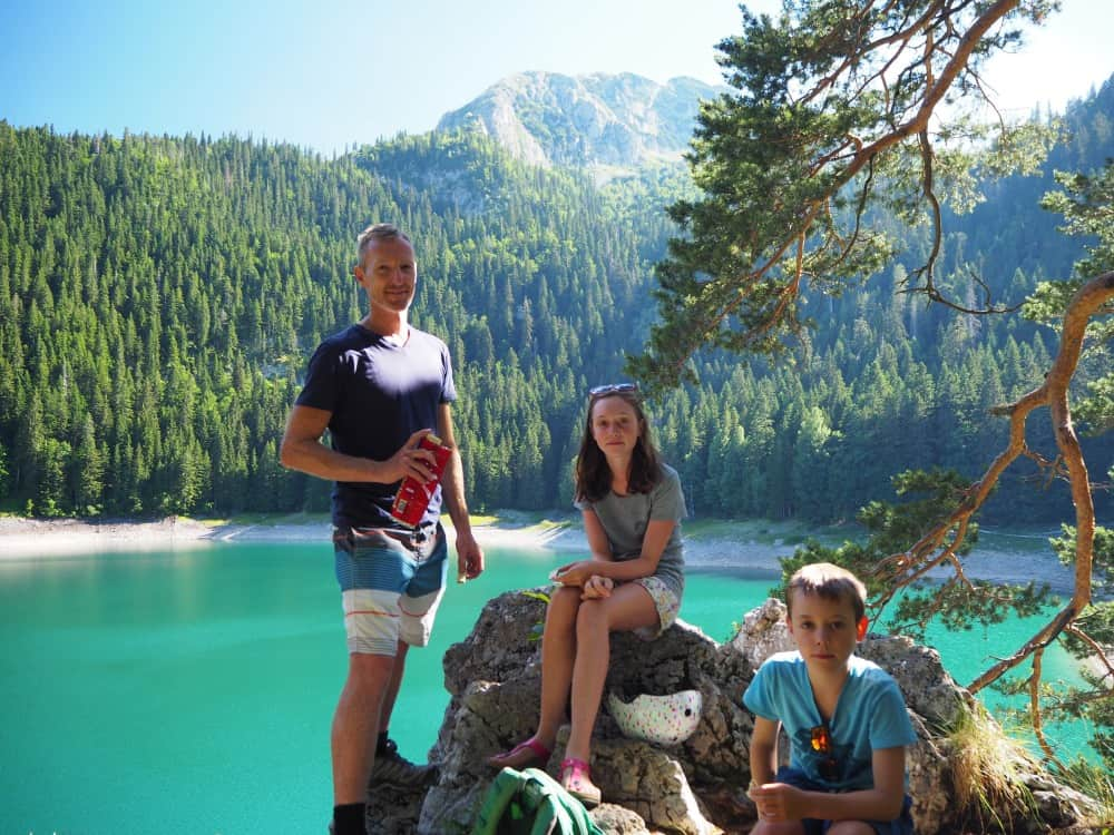 Matt, Amelie and Harvey at Crno Jezero, Montenegro