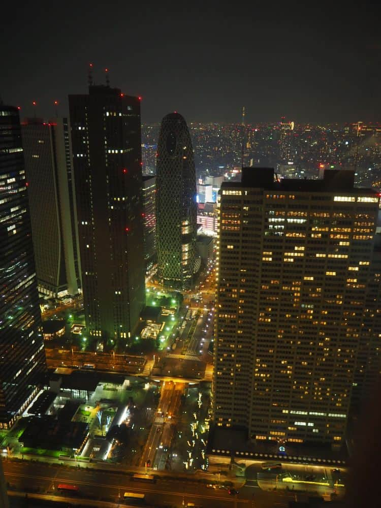 Tokyo night city view from the Tokyo Metropolitan Government building