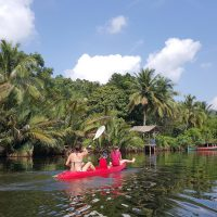Kayaking with kids on Tatai River, Cambodia