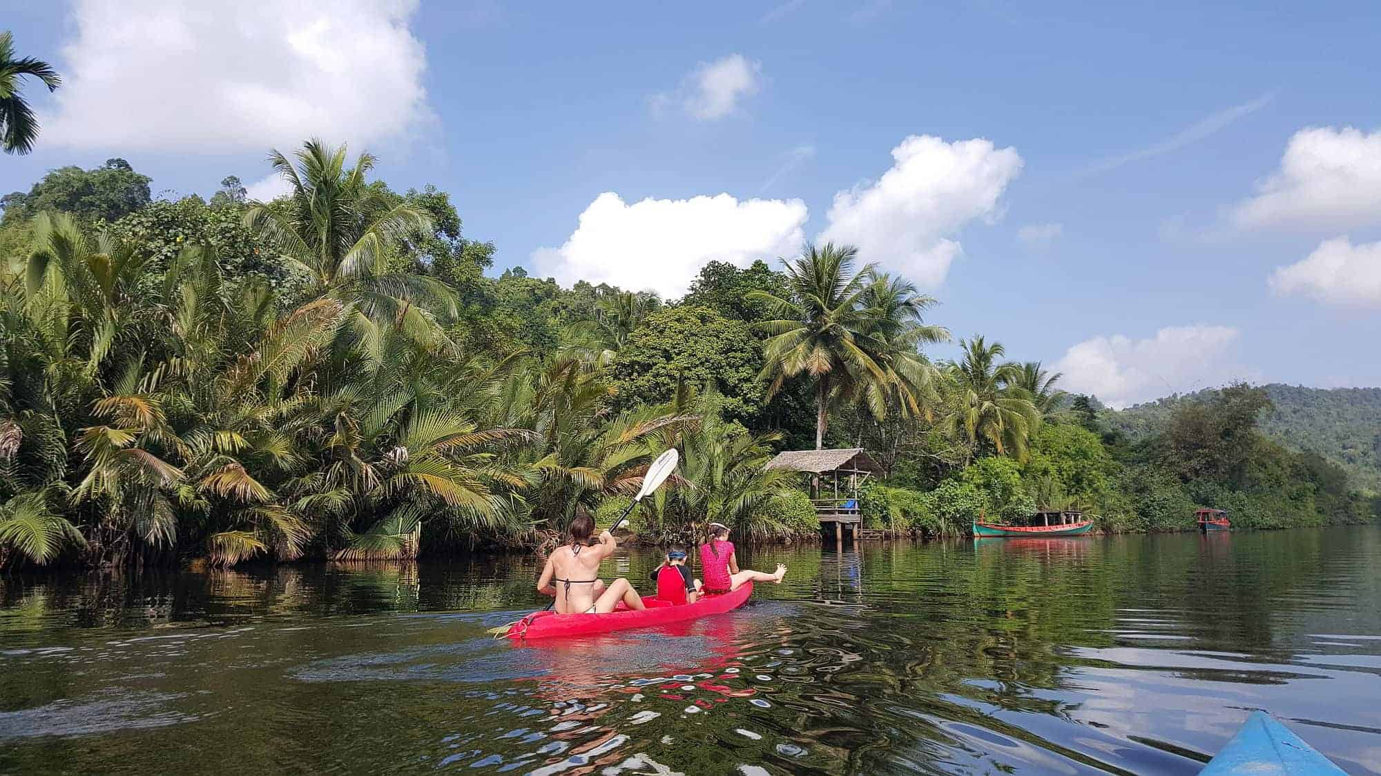 Cambodia Tatai Kayaking with kids