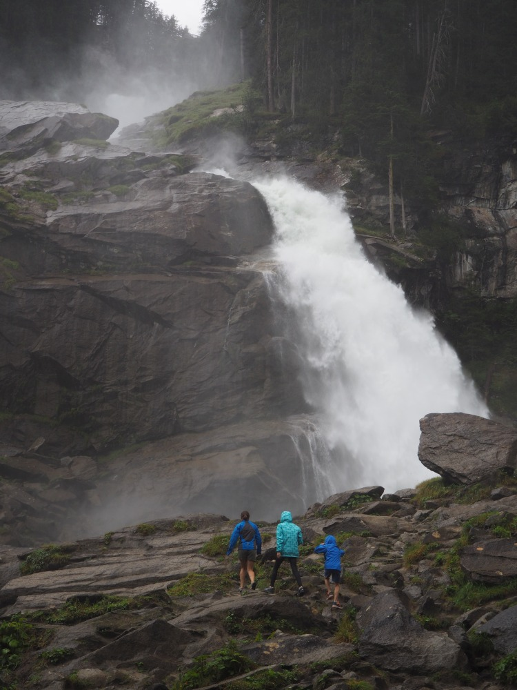 Tips for Hiking with kids. Krimml Waterfall, Austria. Wear appropriate clothing. Stay warm and dry.