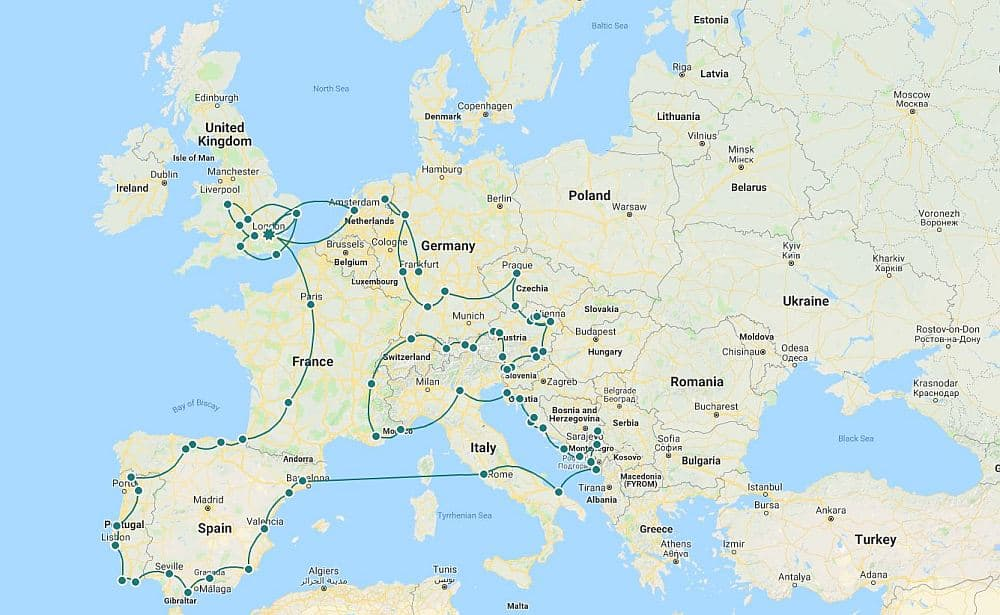 Europe by campervan itinerary map