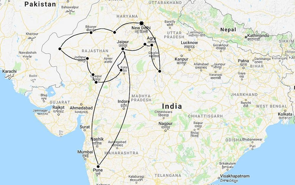 Overland India Itinerary Map