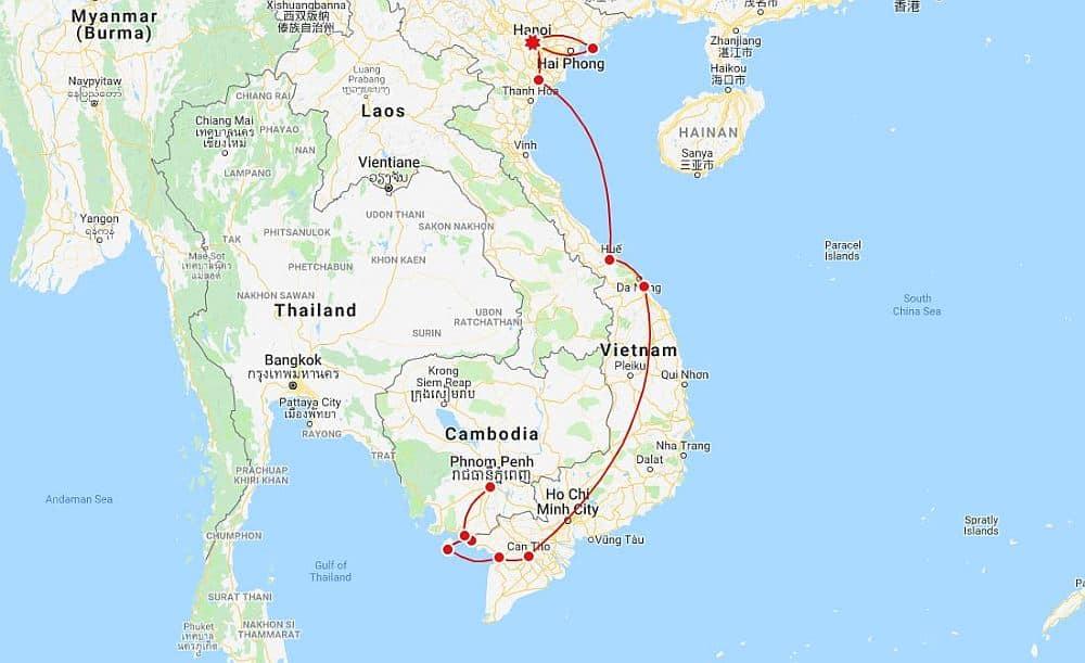 Overland Vietnam Itinerary Map