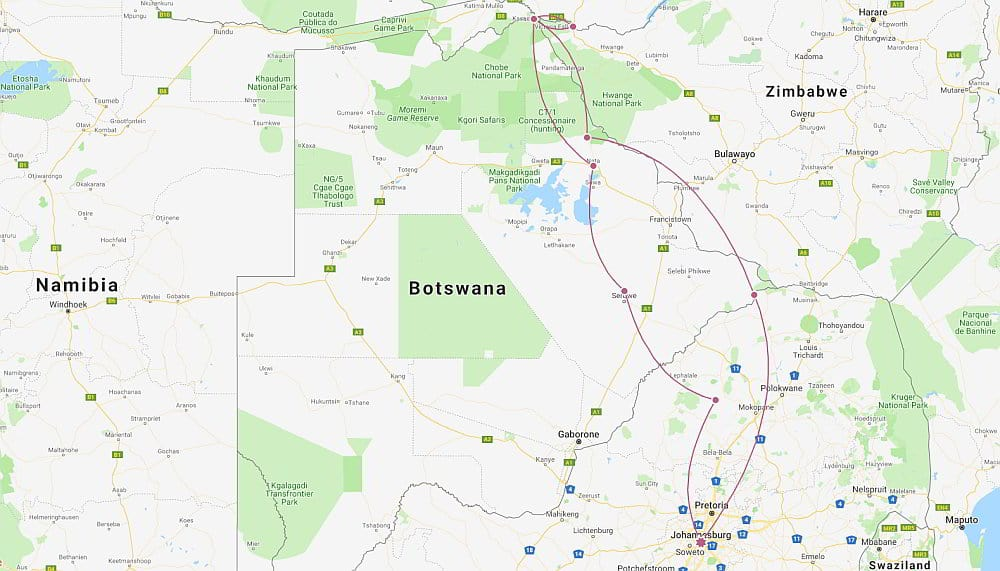 Family Gap Year Itinerary Botswana Itinerary Map