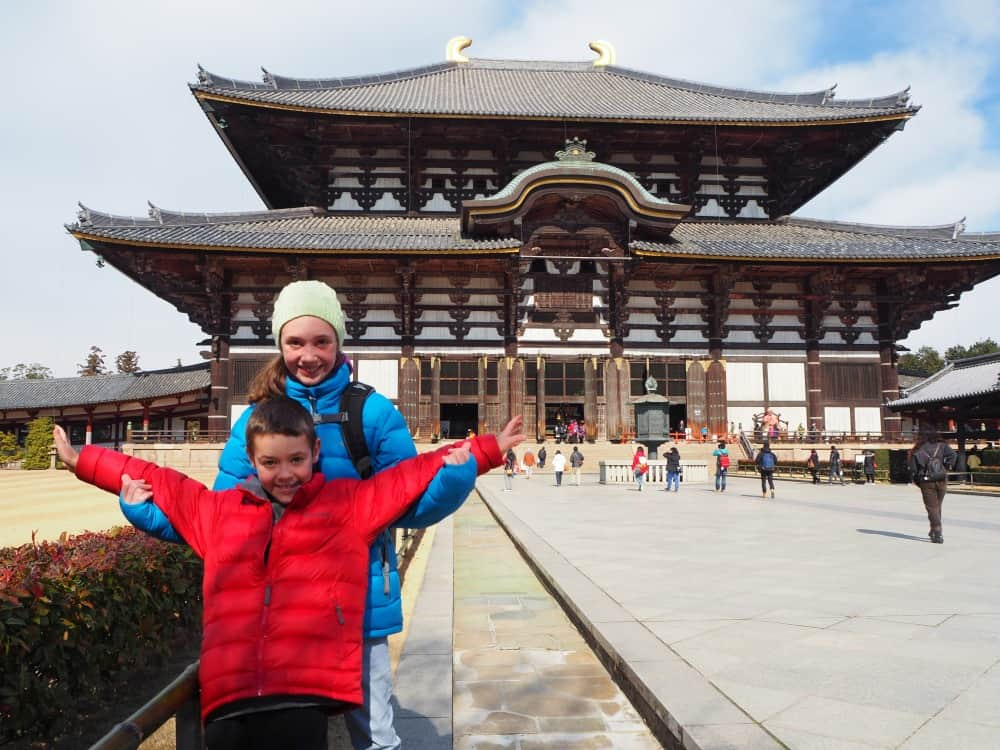 How to travel the world with kids Nara, Japan Temple