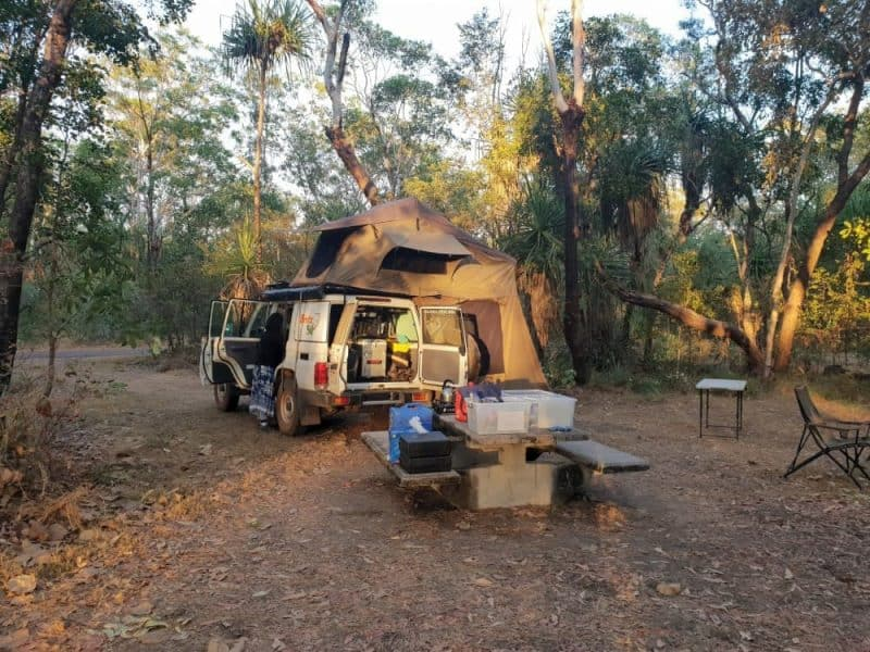 Setting up camp in Kakadu National Park