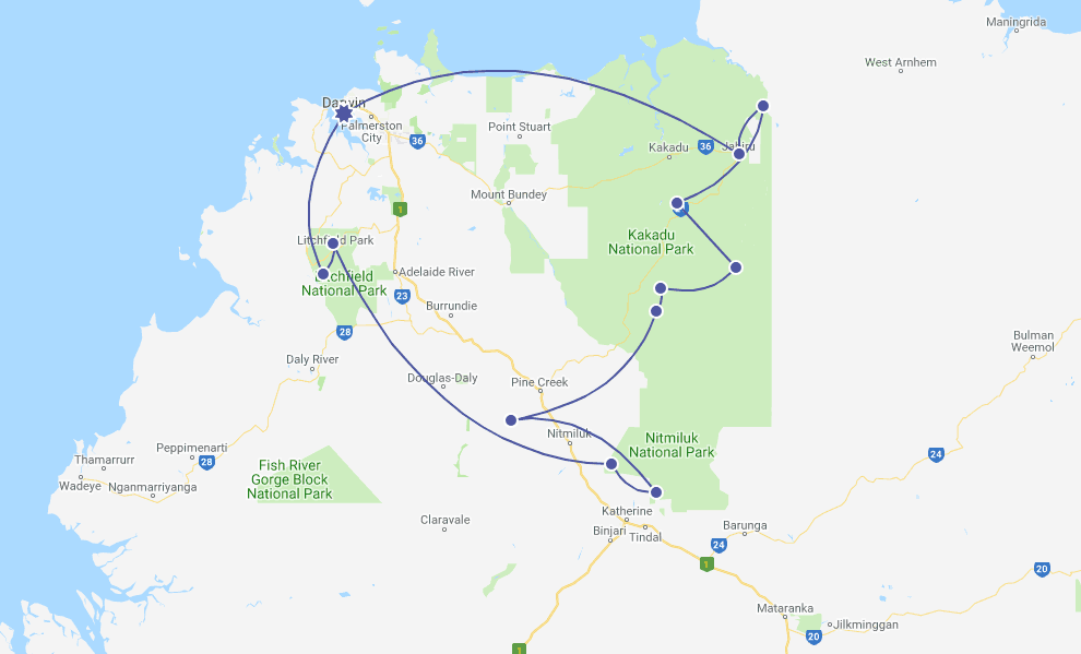 Northern Territory Road Trip Itinerary Map
