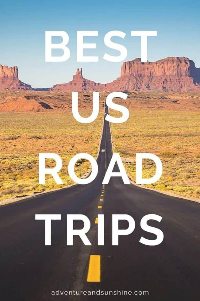 Road leading to Monument Valley with text overlay - BEST US ROAD TRIPS