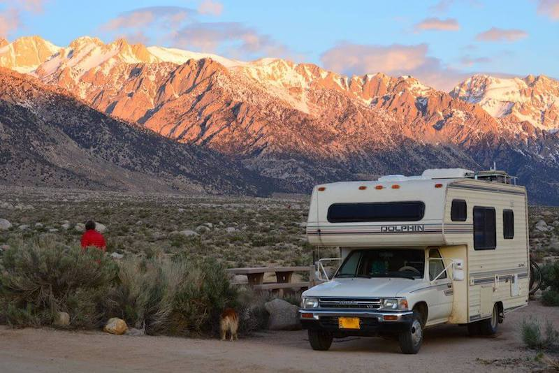 Sunset across mountain range - rv routes across america