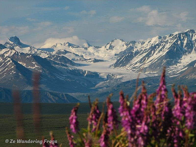 Mountain range and glacier on the best road trips in Alaska