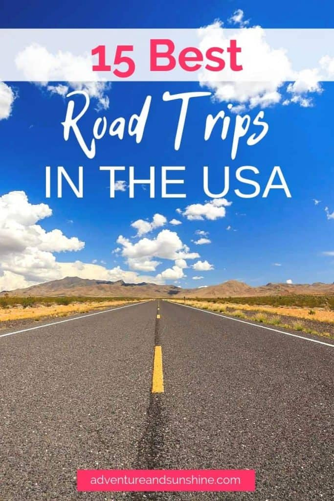 Open road with blue sky and text overlay - best road trips in america