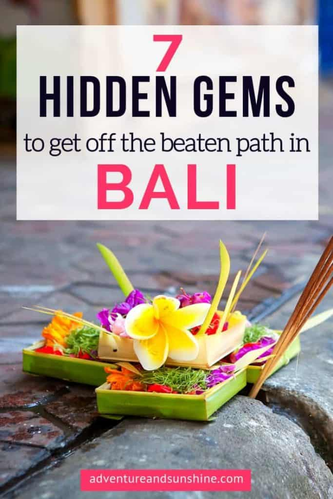 Colorful Temple offering with text overlay - Hidden gems in Bali