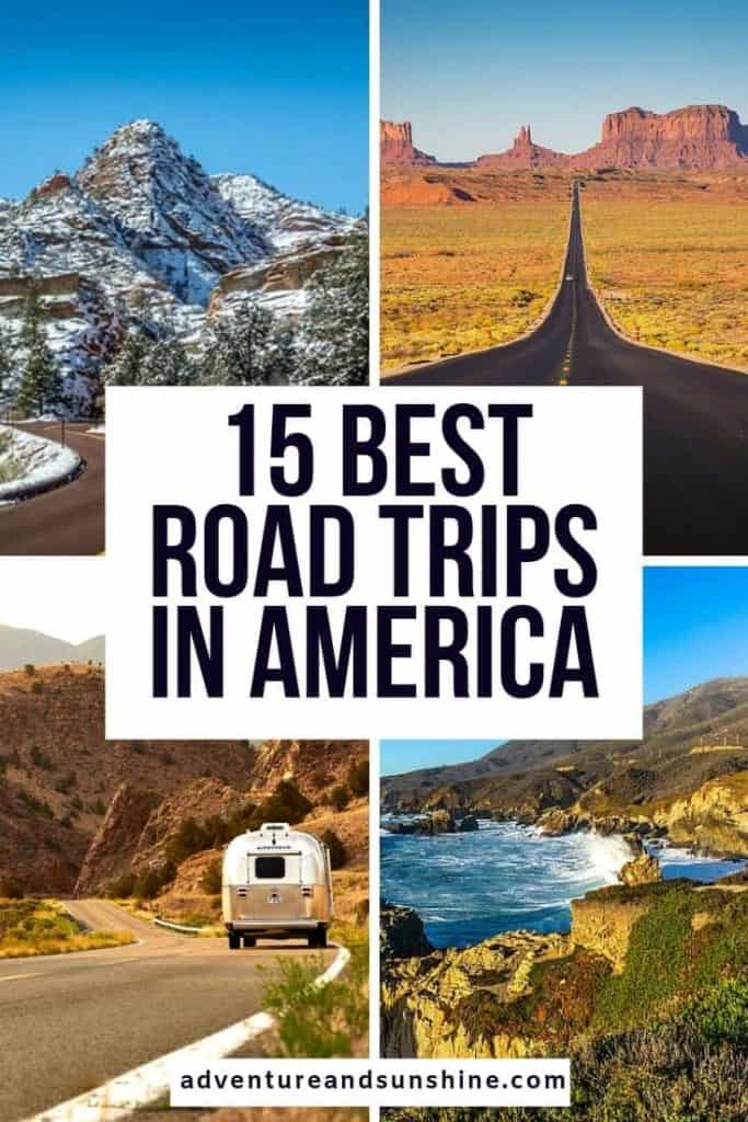 4 US Images with text overlay Best road trips in America