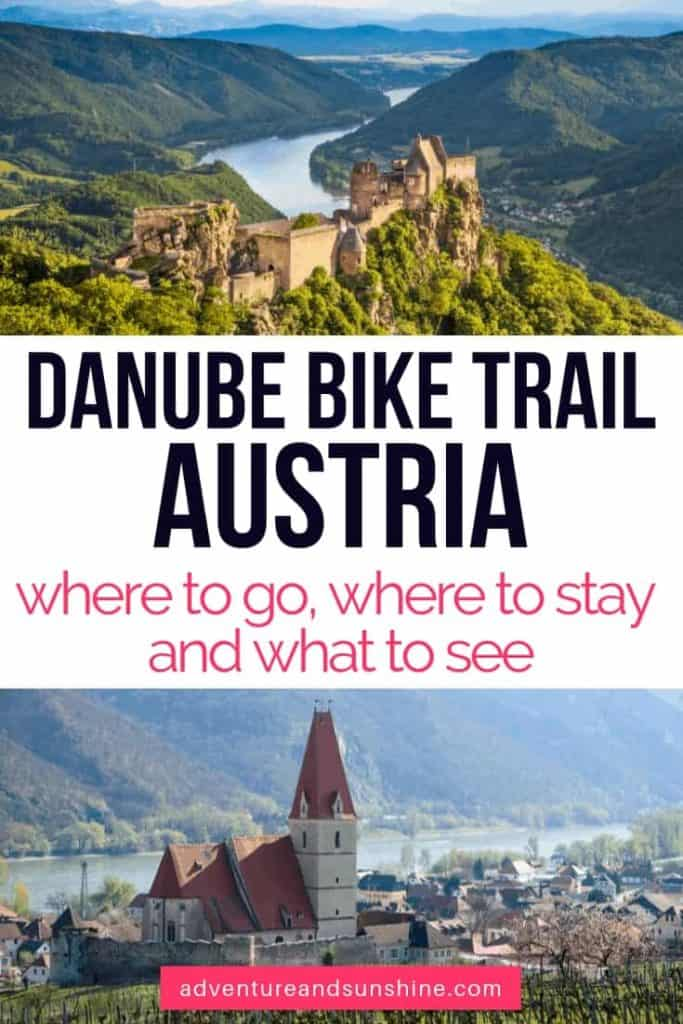 Danube RIver Bike Trail text overlay Danube Austria