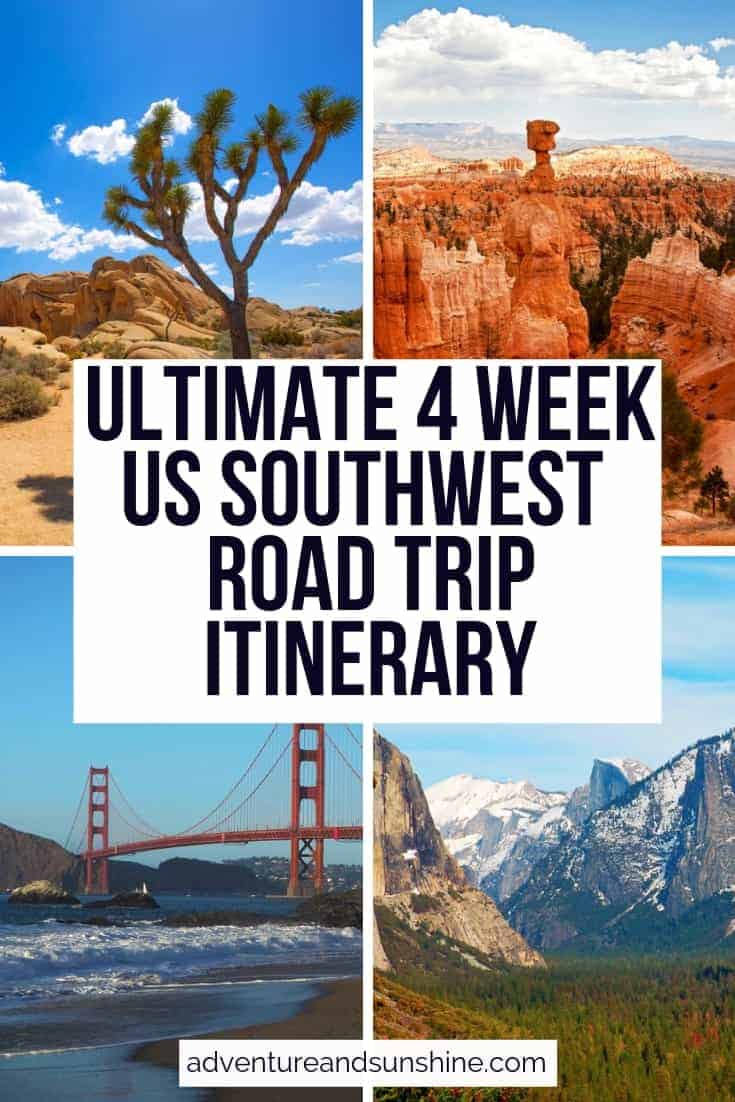 4 US Images with text overlay 4 WEEK US SOUTHWEST ROAD TRIP ITINERARY