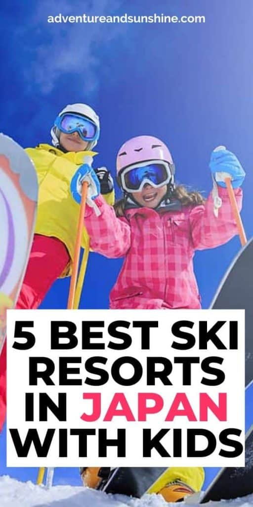 Children on skis with text overlay 5 Best Ski Resorts in Japan with kids