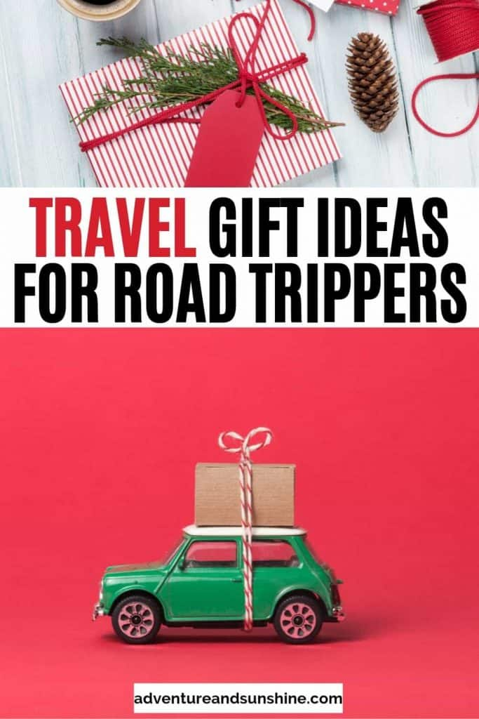 Green car and gift box with text overlay travel gift ideas for road trippers