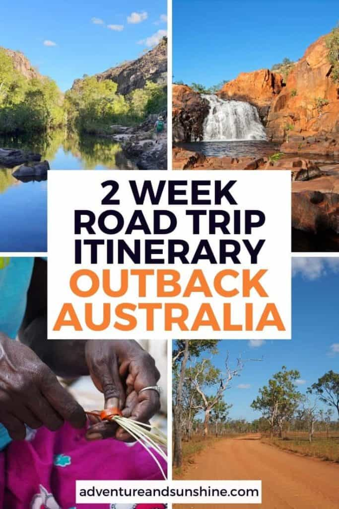 4 images of Northern Territory with text overlay 2 week road trip itinerary outback australia