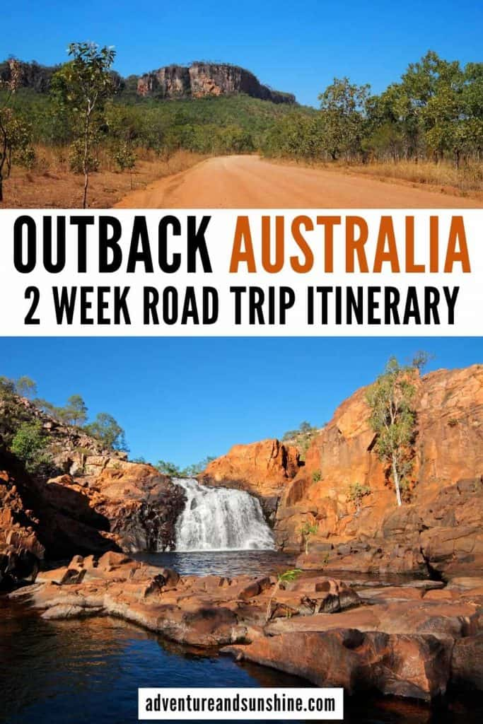 2 images of Northern Territory with text overlay Outback Australia 2 week road trip itinerary