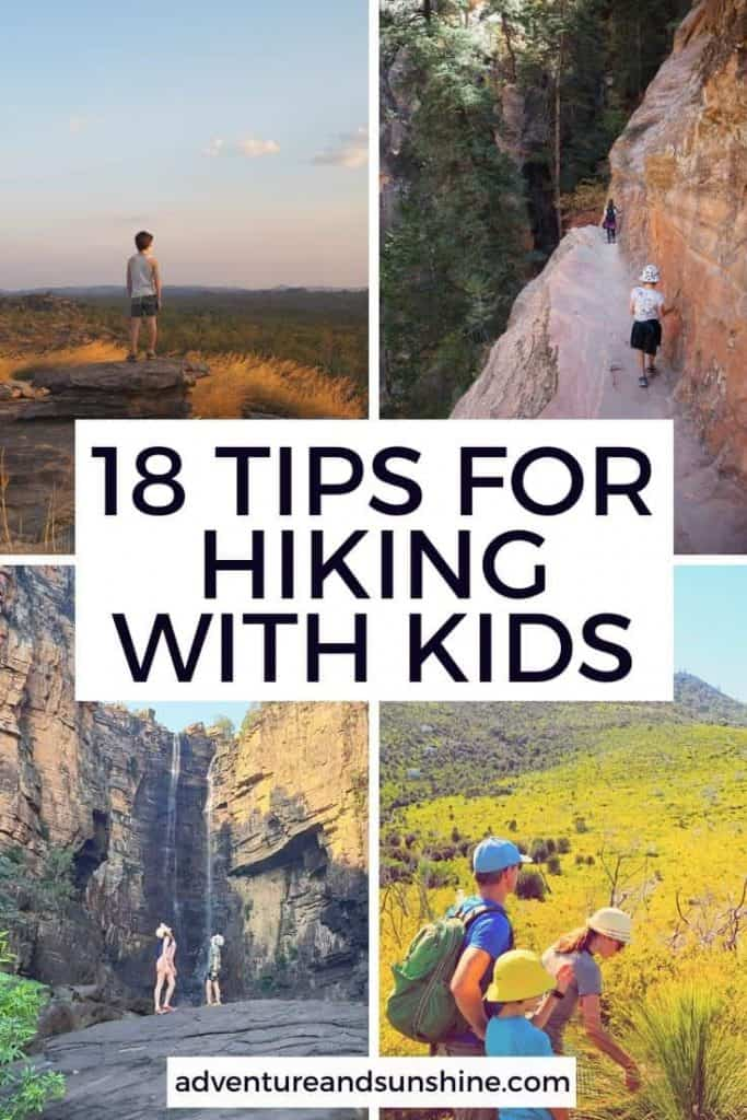 4 outdoor hiking images with text overlay 18 tips for hiking with kids