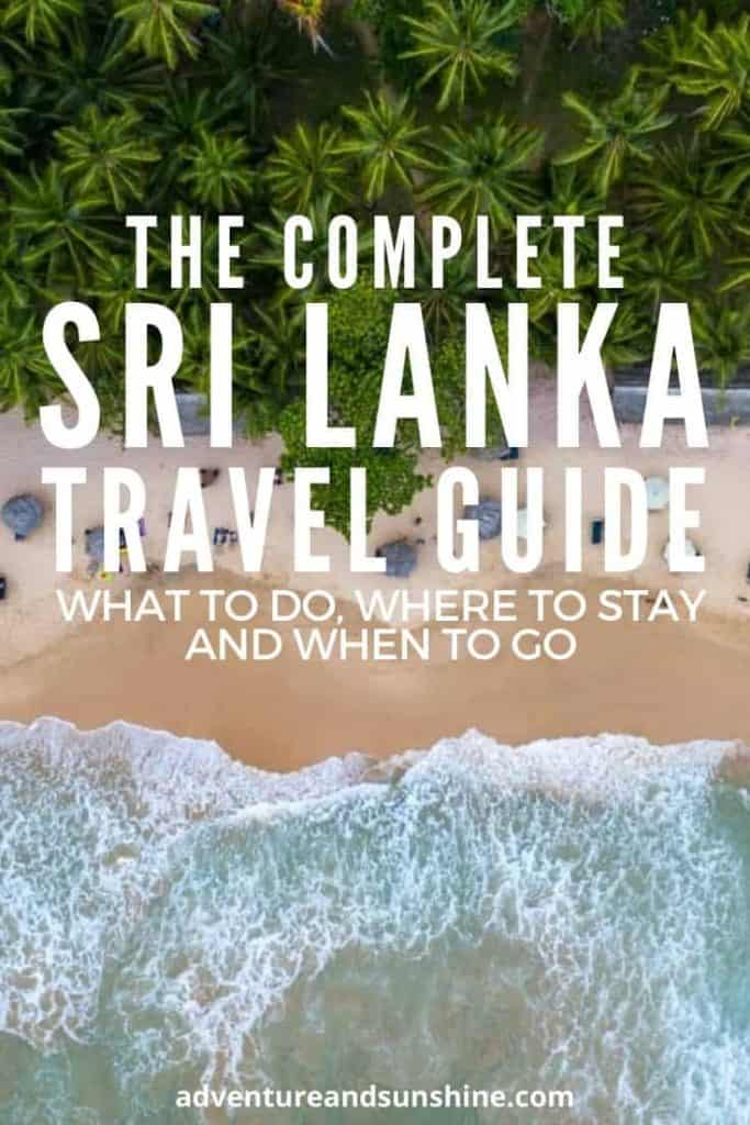 Best Of Sri Lanka Travel Blog - Beach with text overlay The Complete Sri Lanka Travel Guide