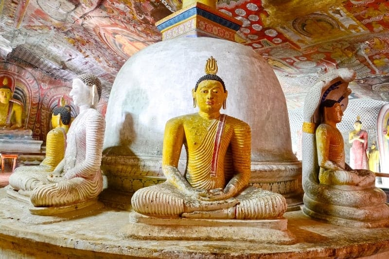 Frescoes and Buddha statues in Dambulla Cave Temple Sri lanka