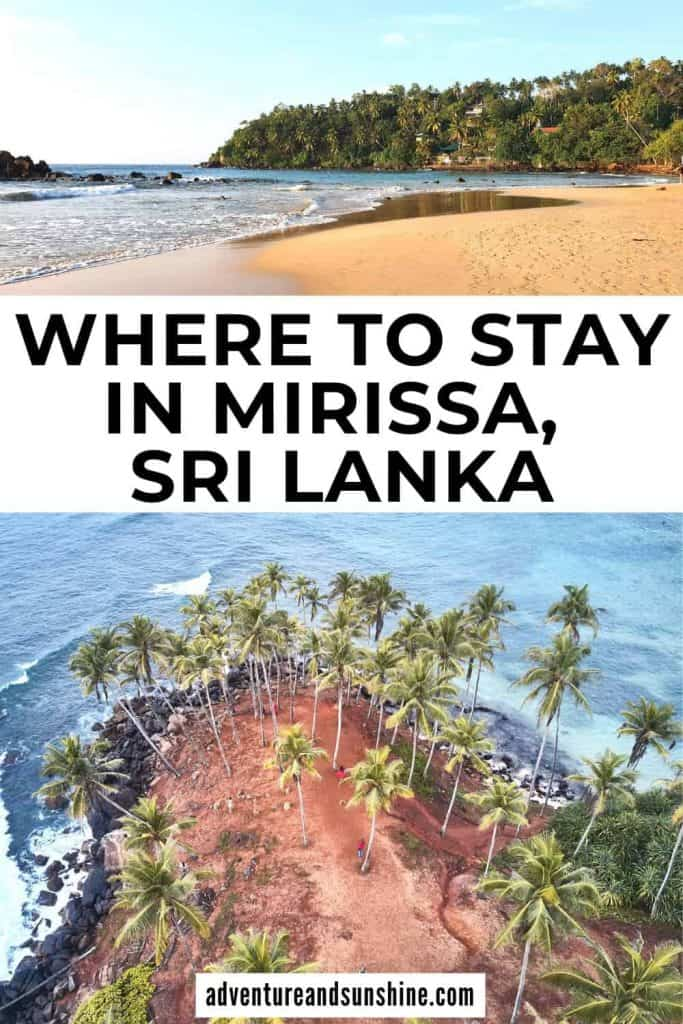Mirissa images with text overlay where to stay in Mirissa Sri Lanka
