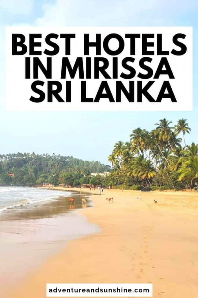 Mirissa Beach with text overlay Best hotels in Mirissa Sri Lanka