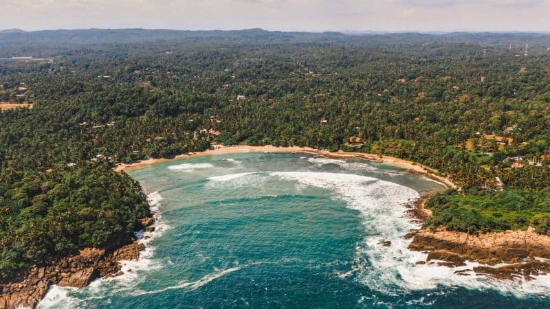 View of hiriketiya beach from above - beaches sri lanka best