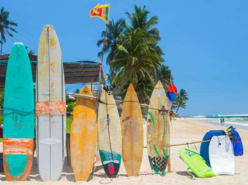 Surfboards at weligama beach - sri lanka south coast beaches