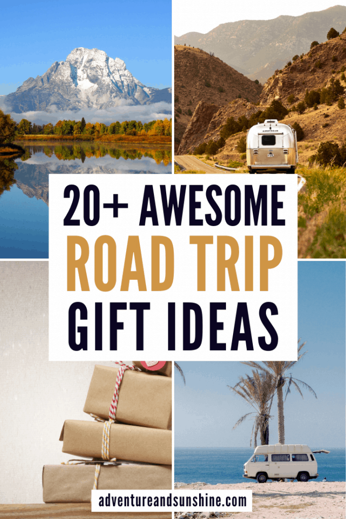 4 road trips with text overlay road trip gift ideas