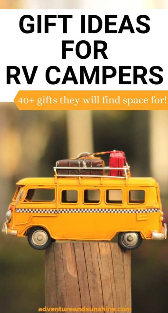 Vintage RV Camper with text GIFT IDEAS FOR RV Campers