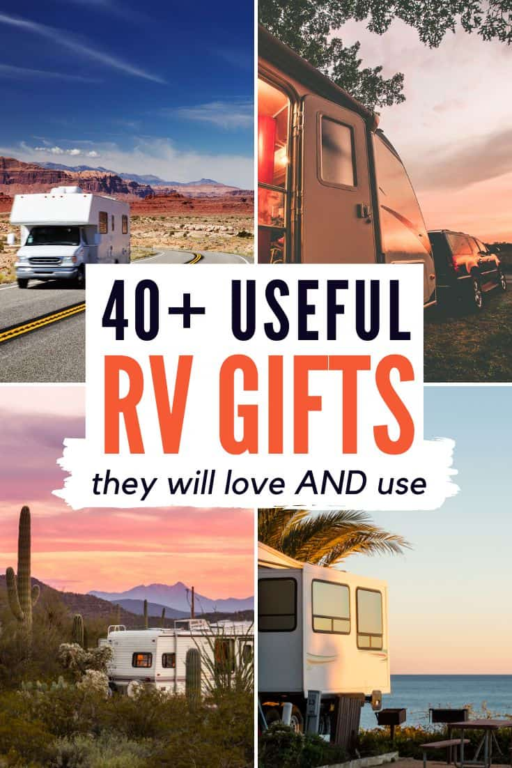 4 images of rv campers with text overlay useful RV gifts