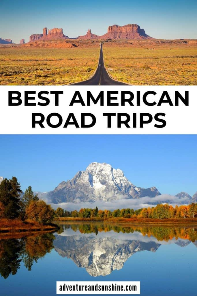 two images of USA with text best american road trips