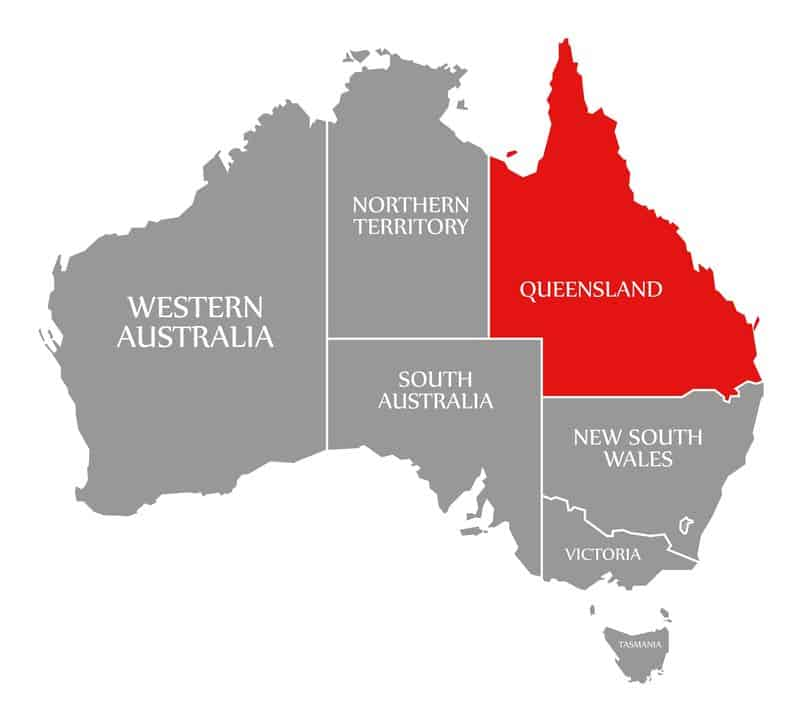 Queensland red highlighted in map of Australia