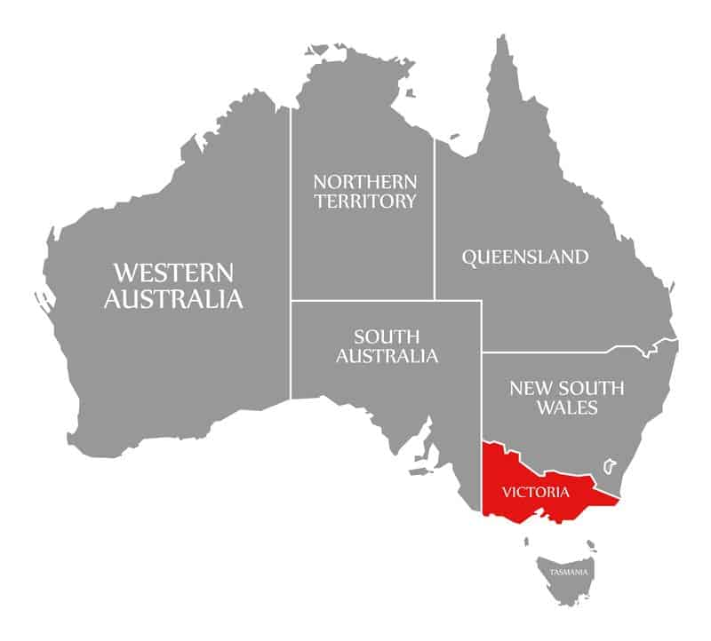 Victoria red highlighted in map of Australia