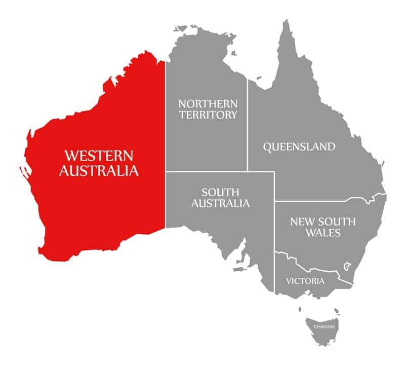 Western Australia red highlighted in map of Australia