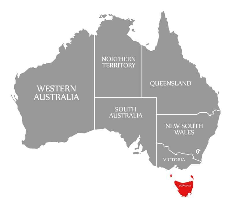 Tasmania red highlighted in map of Australia