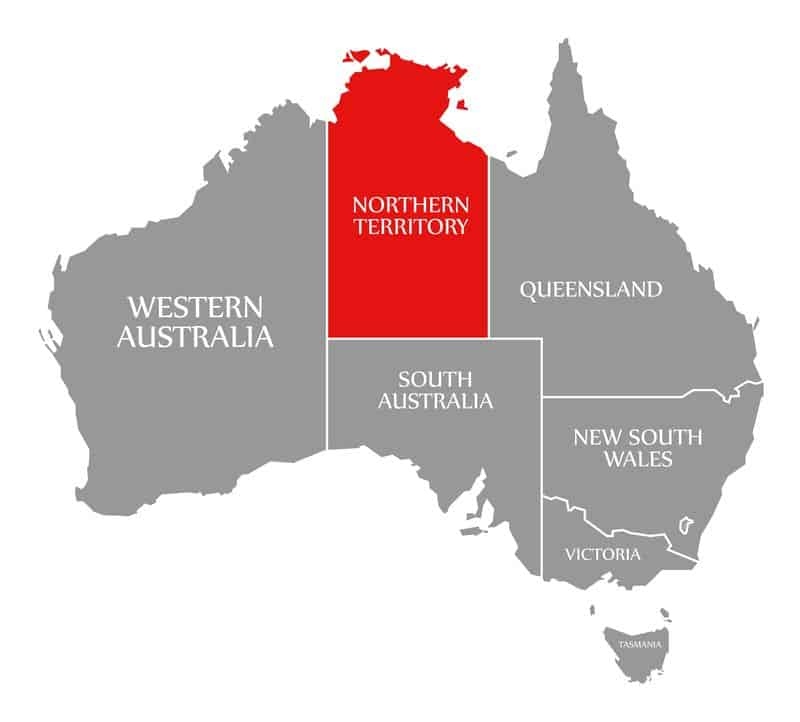 Northern Territory red highlighted in map of Australia