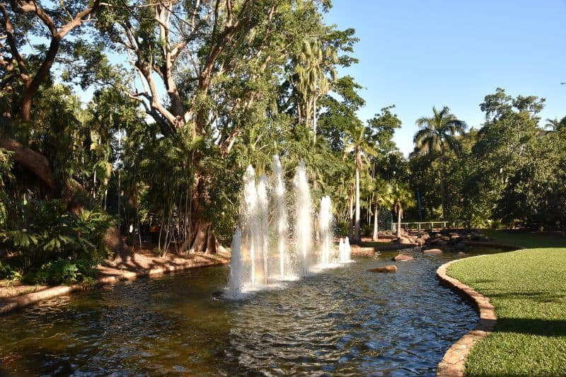 Fountain in George Brown Botanic Gardens contain a major collection of Northern Australian monsoon flora.